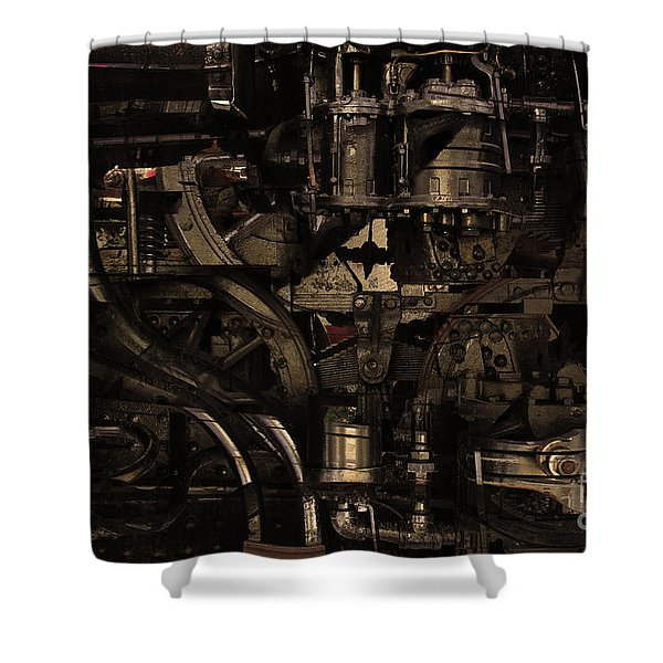 Steampunk Patent 1215 Prototype B . Gold Version Shower Curtain by Wingsdomain Art and Photography