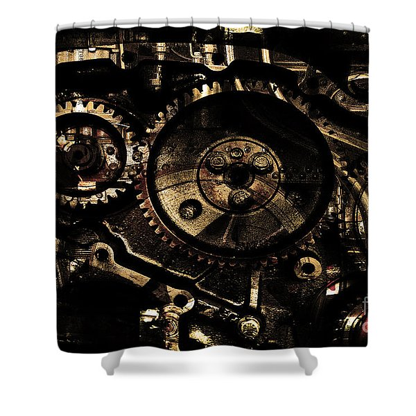 Steampunk Personal Decompression Chamber Model 39875DA78803 Fully Accessorized . Gold Plated Luxury  Shower Curtain by Wingsdomain Art and Photography