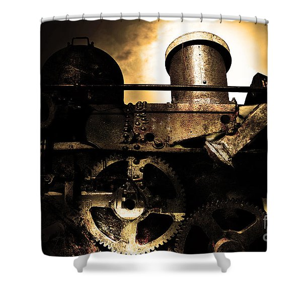 Steampunk Railway Transcontinental Line . Where Steam Is Still King . Gold Version Shower Curtain by Wingsdomain Art and Photography
