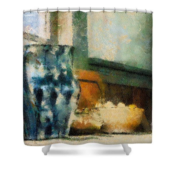 Still Life With Blue Jug Shower Curtain by Lois Bryan