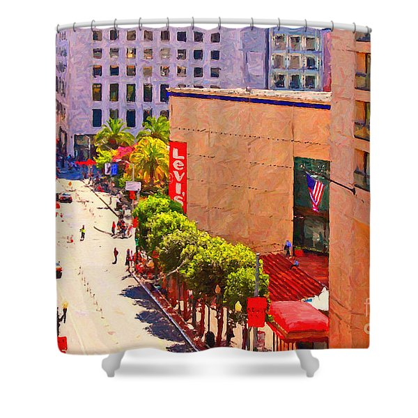 Stockton Street San Francisco Towards Union Square Shower Curtain by Wingsdomain Art and Photography