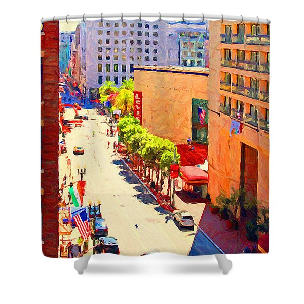 Stockton Street San Francisco . View Towards Union Square Shower Curtain by Wingsdomain Art and Photography
