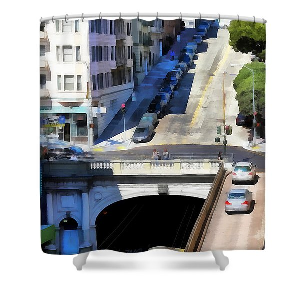 Stockton Street Tunnel in Hilly San Francisco . 7D7499 Shower Curtain by Wingsdomain Art and Photography