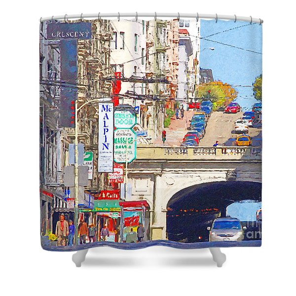 Stockton Street Tunnel in San Francisco . 7D7355 Shower Curtain by Wingsdomain Art and Photography