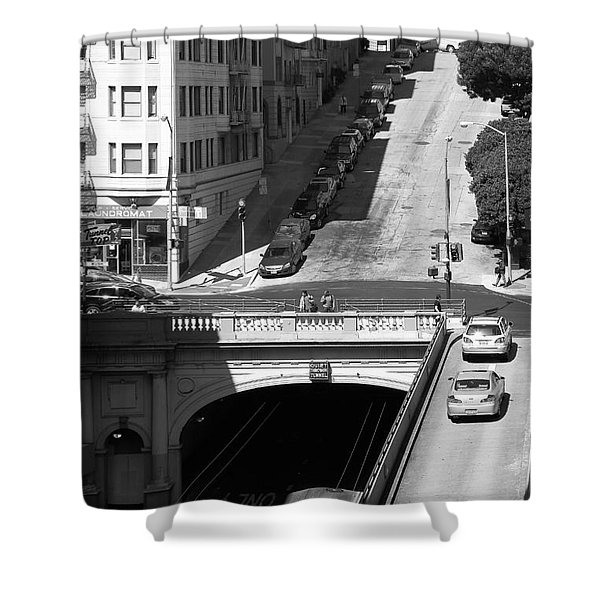 Stockton Street Tunnel Midday Late Summer in San Francisco . Black and White Photograph 7D7499 Shower Curtain by Wingsdomain Art and Photography