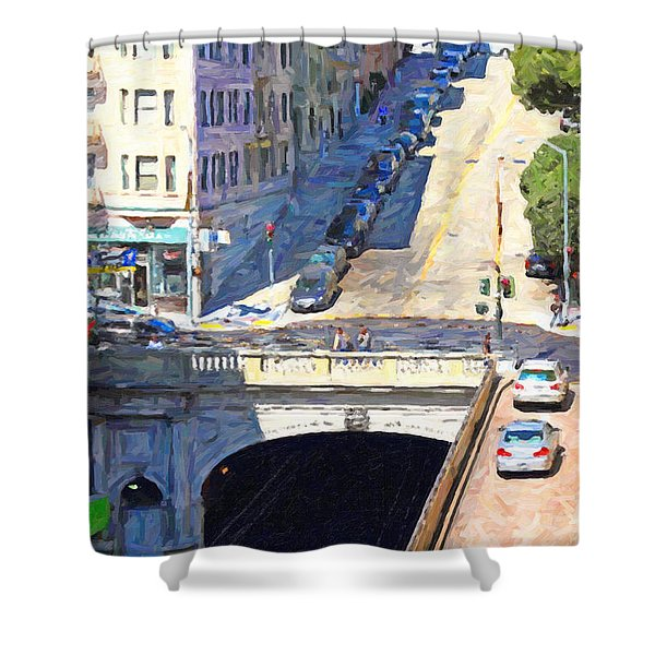 Stockton Street Tunnel Midday Late Summer in San Francisco Shower Curtain by Wingsdomain Art and Photography