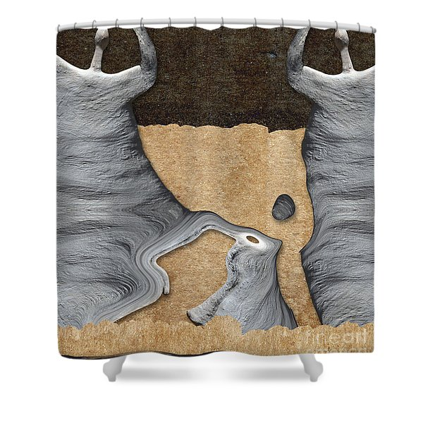 Stone Men 27 - Mama Fiesta Shower Curtain by Variance Collections