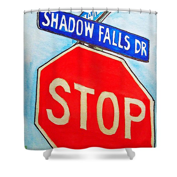 Stop Sign Sketchbook Project Down My Street Shower Curtain by Irina Sztukowski