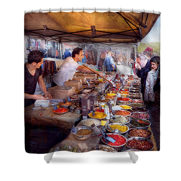 Storefront - The open air Tea and Spice market  Shower Curtain by Mike Savad