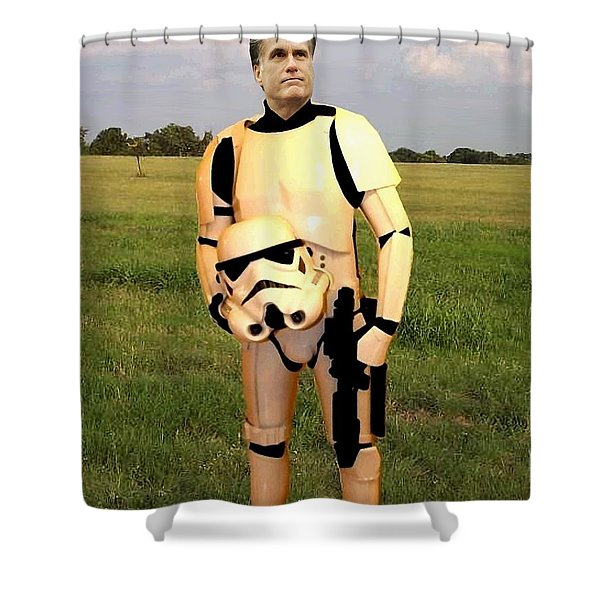 Stormtrooper Mitt Romney Shower Curtain by Paul Van Scott