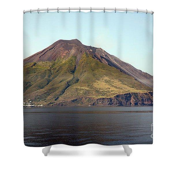 Stromboli Volcano, Aeolian Islands Shower Curtain by Richard Roscoe