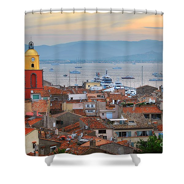 St.Tropez at sunset Shower Curtain by Elena Elisseeva