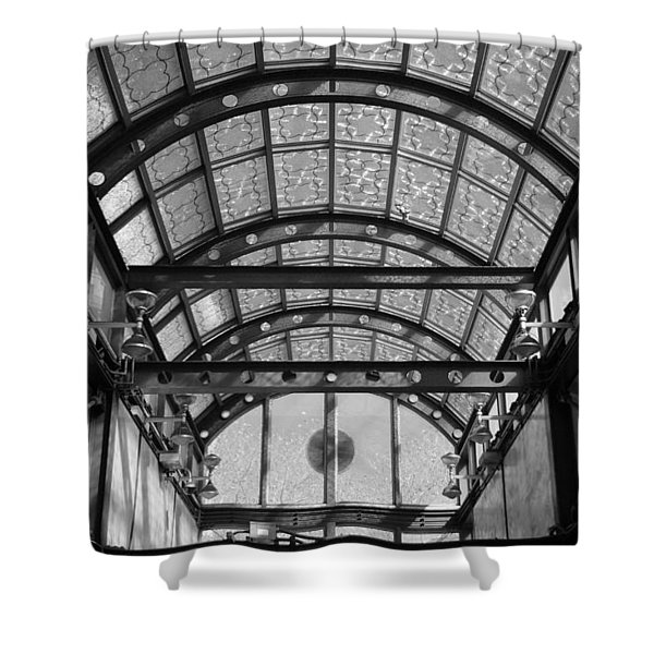 Subway Glass Station In Black And White Shower Curtain by Rob Hans