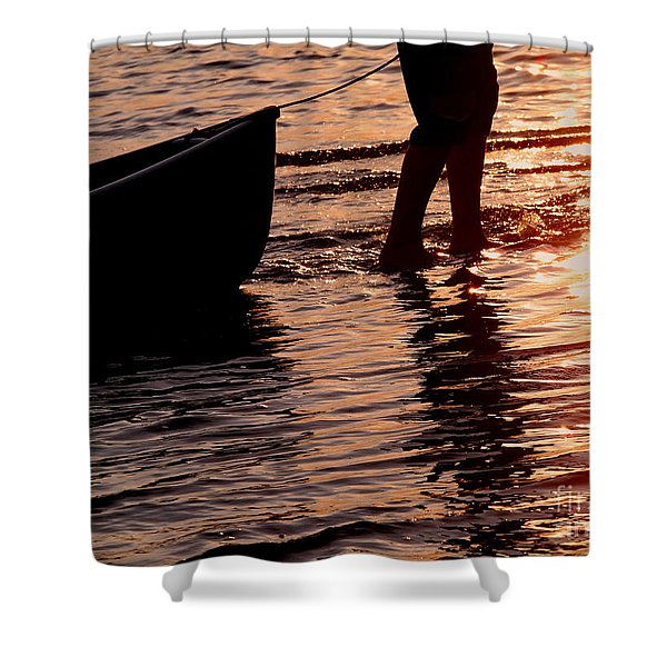 Summer Days - Canoeing At Sunset Shower Curtain by Angie Rea