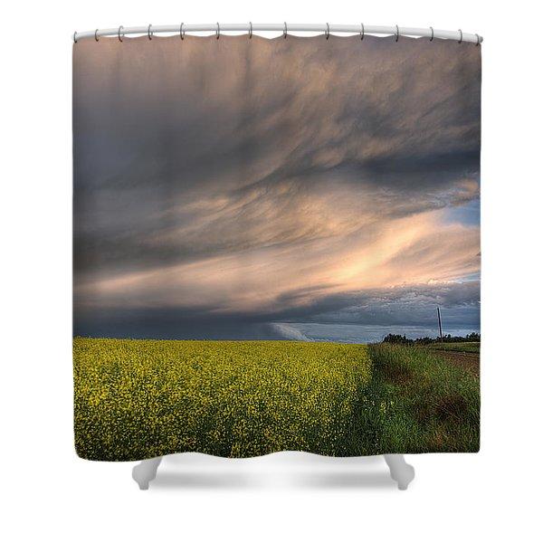 Summer Evening Storm Blowing Over Ripe Shower Curtain by Dan Jurak