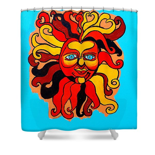 Sun God II Shower Curtain by Genevieve Esson