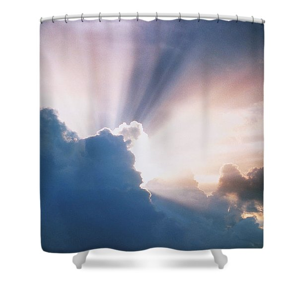 Sun Rays Shower Curtain by Erich Schrempp and Photo Researchers