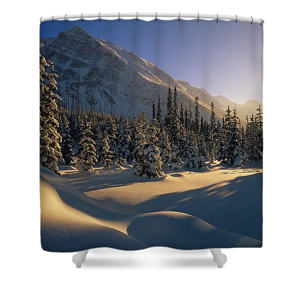 Sun Setting Behind Trees And Mountain Shower Curtain by Mike Grandmailson