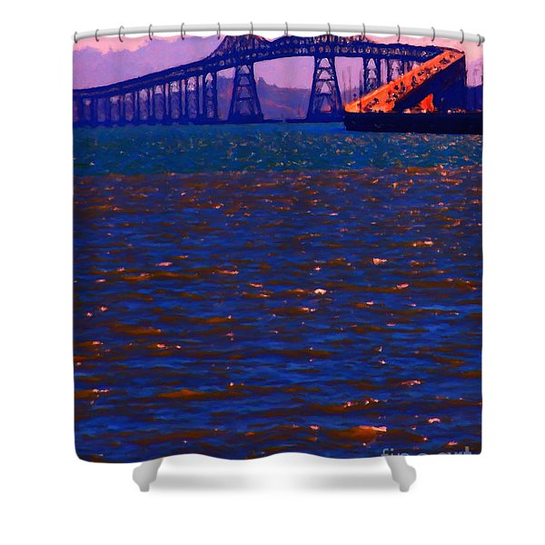 Sun Setting Beyond The Richmond-San Rafael Bridge - California - 5D18435 Shower Curtain by Wingsdomain Art and Photography