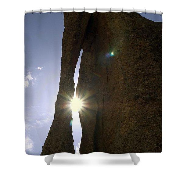Sunburst Through Granite Shower Curtain by Sally Weigand