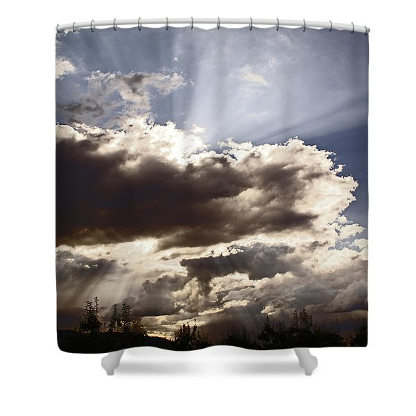 Sunlight And Stormy Skies Shower Curtain by Mick Anderson