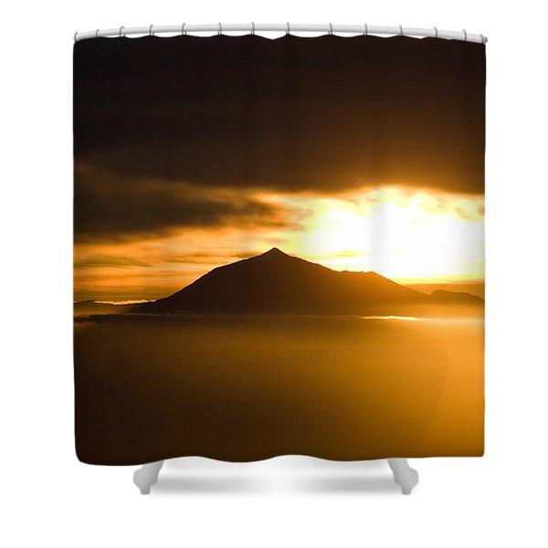 sunrise behind Mount Teide Shower Curtain by Ralf Kaiser