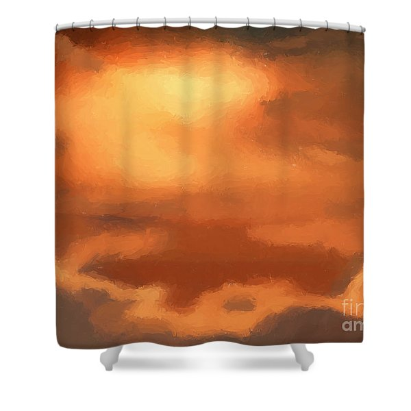 Sunset clouds Shower Curtain by Pixel Chimp