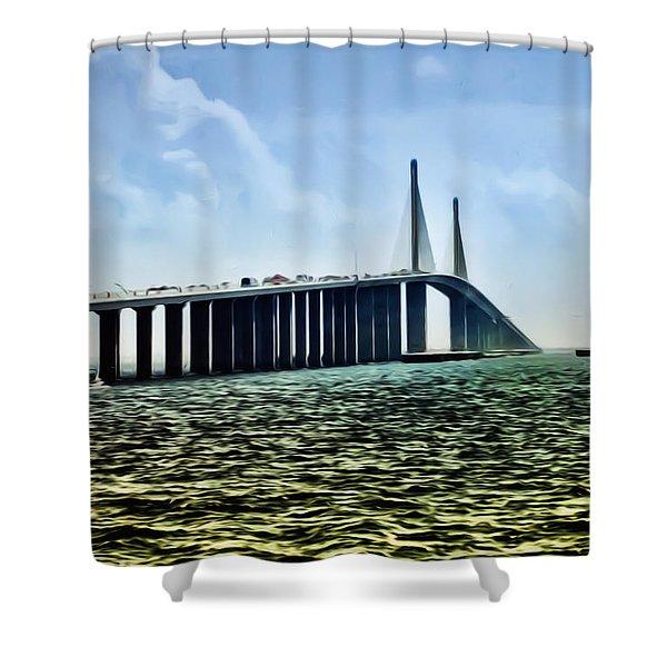 Sunshine Skyway Bridge - Tampa Bay Shower Curtain by Bill Cannon