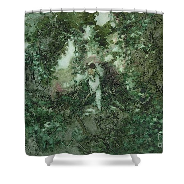Surprised Bather Shower Curtain by Elizabeth Carr