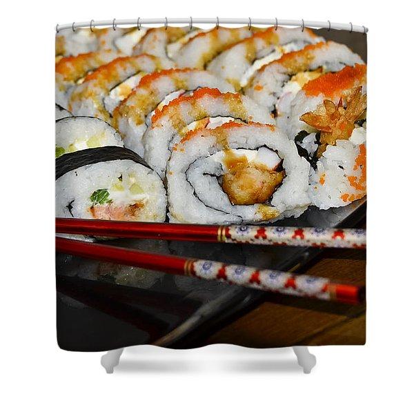 Sushi And Chopsticks Shower Curtain by Carolyn Marshall