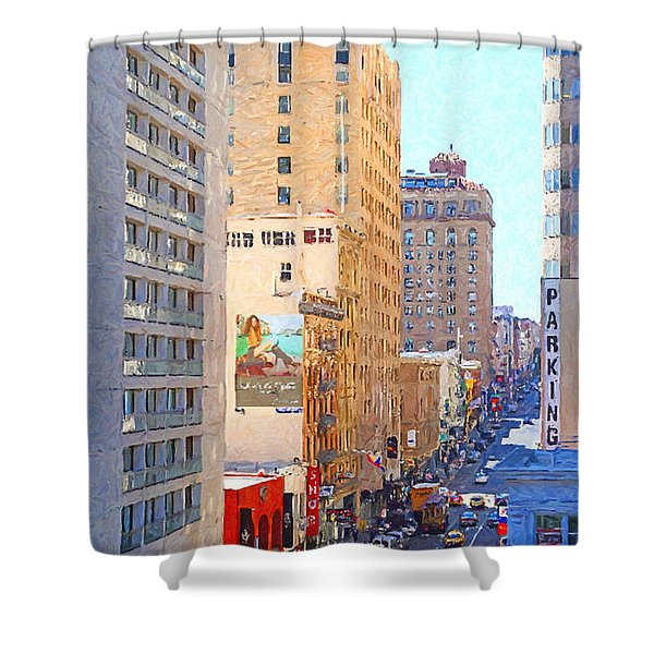 Sutter Street San Francisco Shower Curtain by Wingsdomain Art and Photography