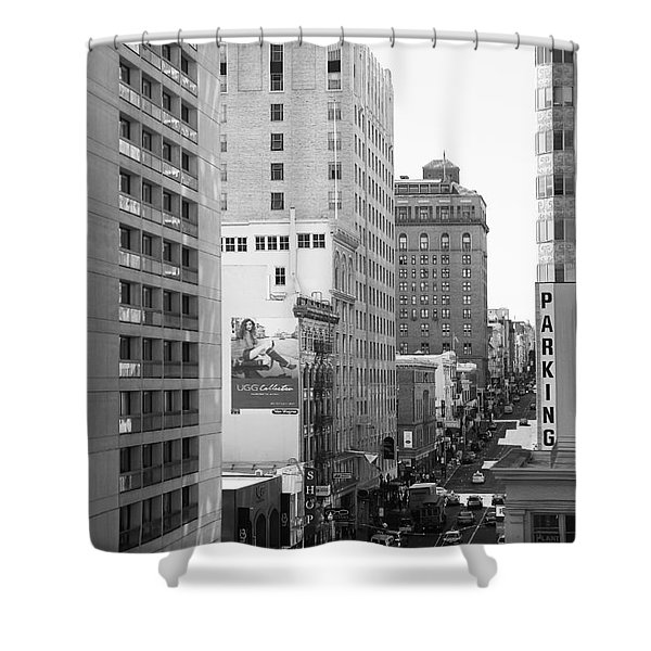Sutter Street West View . Black and White Photograph 7D7506 Shower Curtain by Wingsdomain Art and Photography
