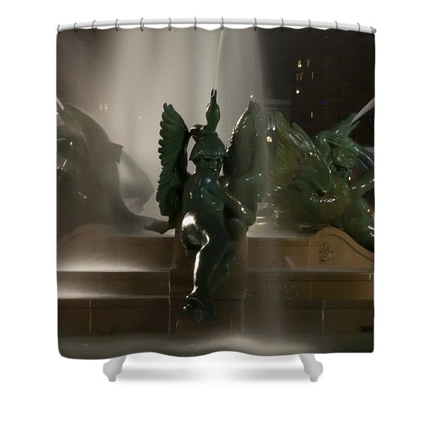 Swann Fountain at Night Shower Curtain by Bill Cannon