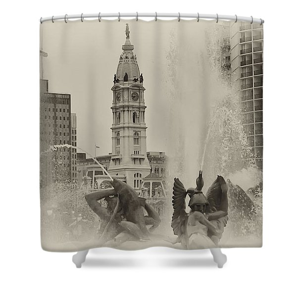 Swann Memorial Fountain in Sepia Shower Curtain by Bill Cannon