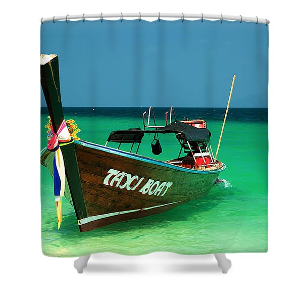 Taxi Boat Shower Curtain by Adrian Evans