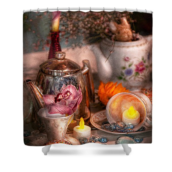 Tea Party - I would love to have some tea  Shower Curtain by Mike Savad