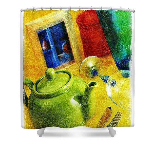 Tea Pot Shower Curtain by Mauro Celotti
