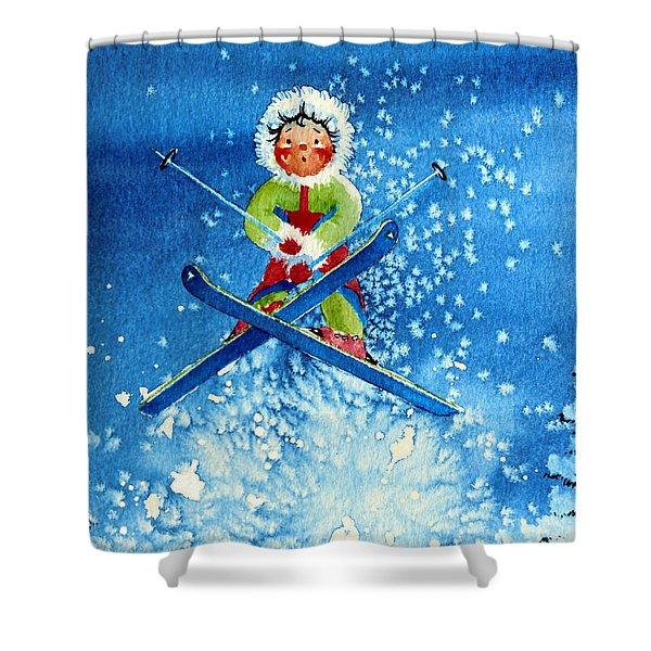 The Aerial Skier - 11 Shower Curtain by Hanne Lore Koehler