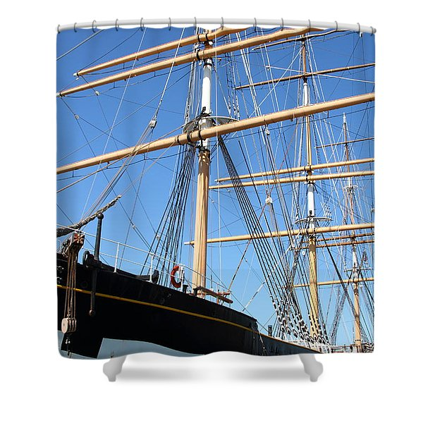 The Balclutha . A 1886 Square Rigged Cargo Ship At The Hyde Street Pier In Sf California . 7d14135 Shower Curtain by Wingsdomain Art and Photography
