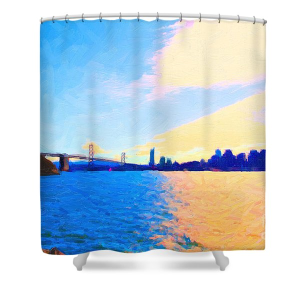 The Bay Bridge And The San Francisco Skyline Shower Curtain by Wingsdomain Art and Photography