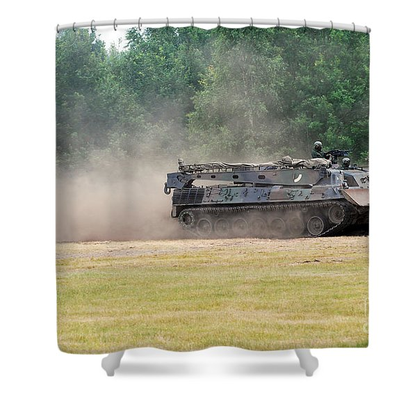 The Bergepanzer Used By The Belgian Army Shower Curtain by Luc De Jaeger