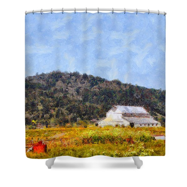 The Big White Barn At Point Reyes California . 7d15933 Shower Curtain by Wingsdomain Art and Photography