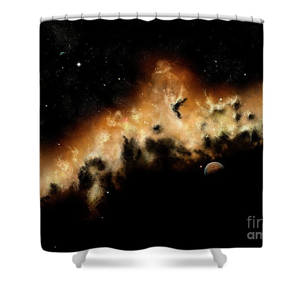 The Blast Wave Of A Nova Pulls Away Shower Curtain by Brian Christensen