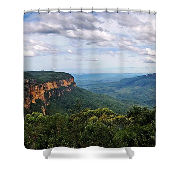 The Blue Mountains - Panoramic View Shower Curtain by Kaye Menner