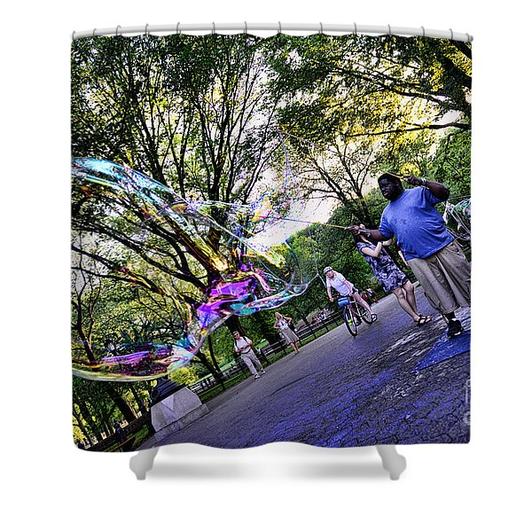 The Bubble Man Of Central Park Shower Curtain by Paul Ward