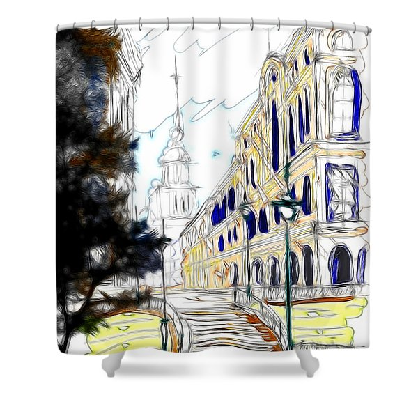 The Church In The Middle Of Town Shower Curtain by Cheryl Young