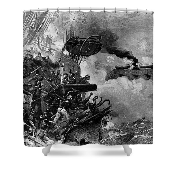 The Confederate Ironclad Merrimack Shower Curtain by Photo Researchers