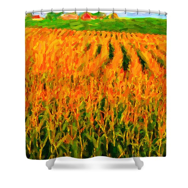 The Cornfield Shower Curtain by Wingsdomain Art and Photography