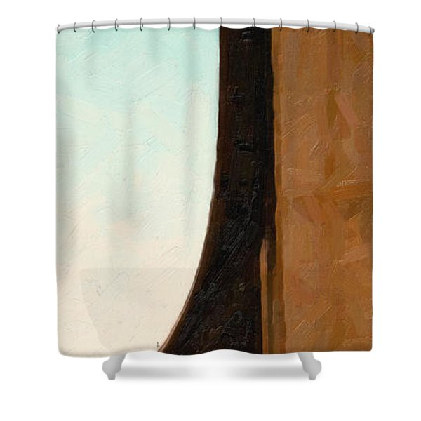 The Crockett Carquinez Bridge Skyway In Abstract Shower Curtain by Wingsdomain Art and Photography