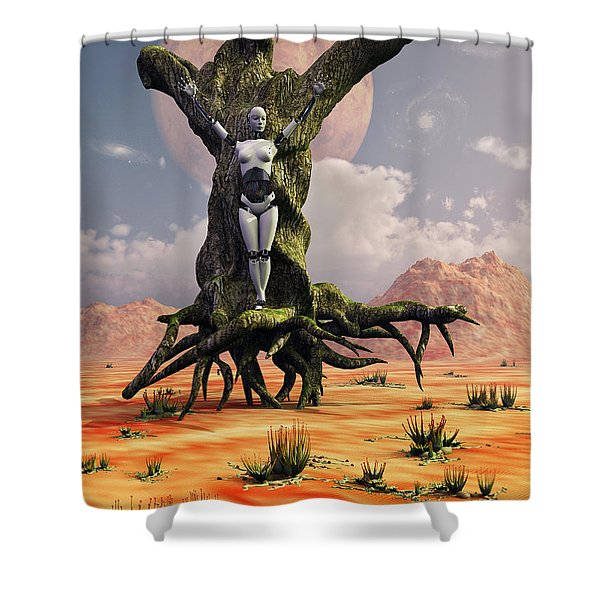 The Crucifixion Of A Messianic Martyr Shower Curtain by Mark Stevenson